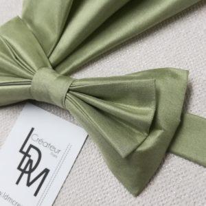Avignon-noeud-papillon-mariage-vert-soie-pochette-200x188-LDM-Createur-fr
