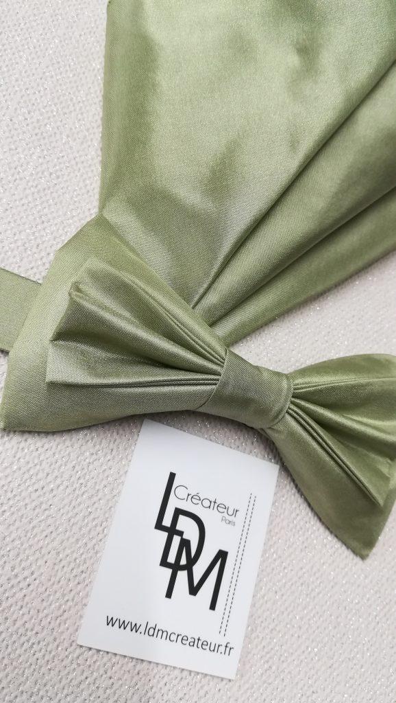 Avignon-noeud-papillon-vert-mariage-soie-pochette-ceremonie-200x190-LDM-Createur-fr