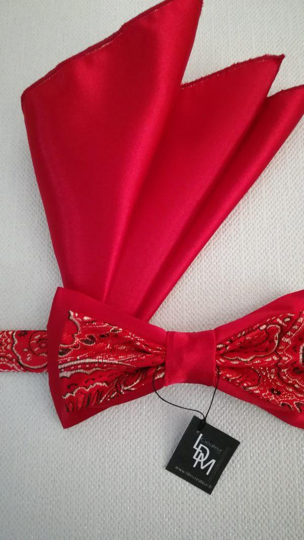 noeud-papillon-rouge-Olivet-satin-brocart-mariage-soiree-smoking-200x360-LDM-Createur-fr-