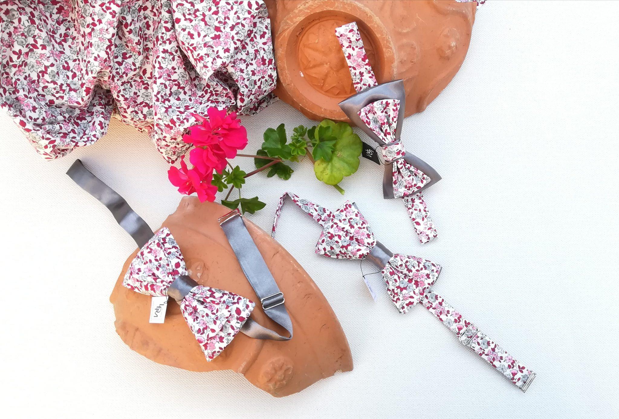 Liberty-gris-rose-rouge-nœud-papillon-Collonges-mariage-LDM-Créateur-fr