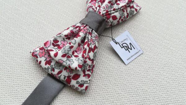 Nœud-papillon-liberty-rose-rouge-gris-Collonges-LDM-Créateur-fr