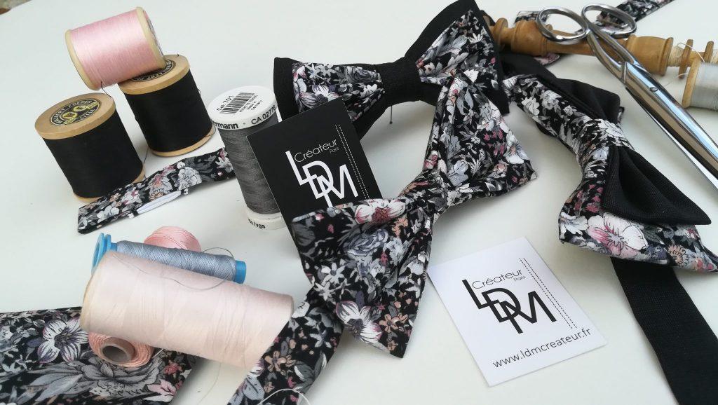 Esprit-couture-nœud-papillon-liberty-champêtre-rose-gris-mariage-@ldmcreateur-LDM-Createur-fr