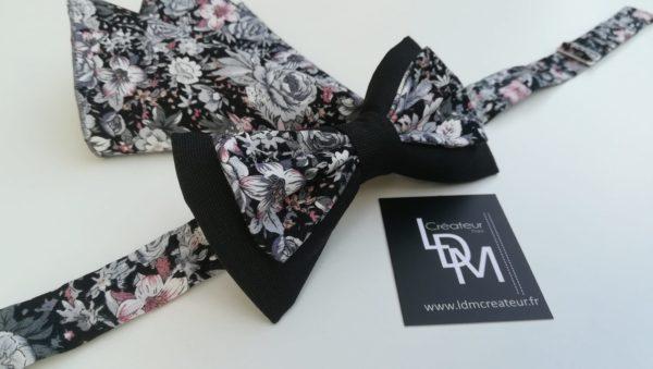 Nœud-papillon-liberty-gris-rose-Granville-mariage-soirée-200x395-LDM-Createur-fr