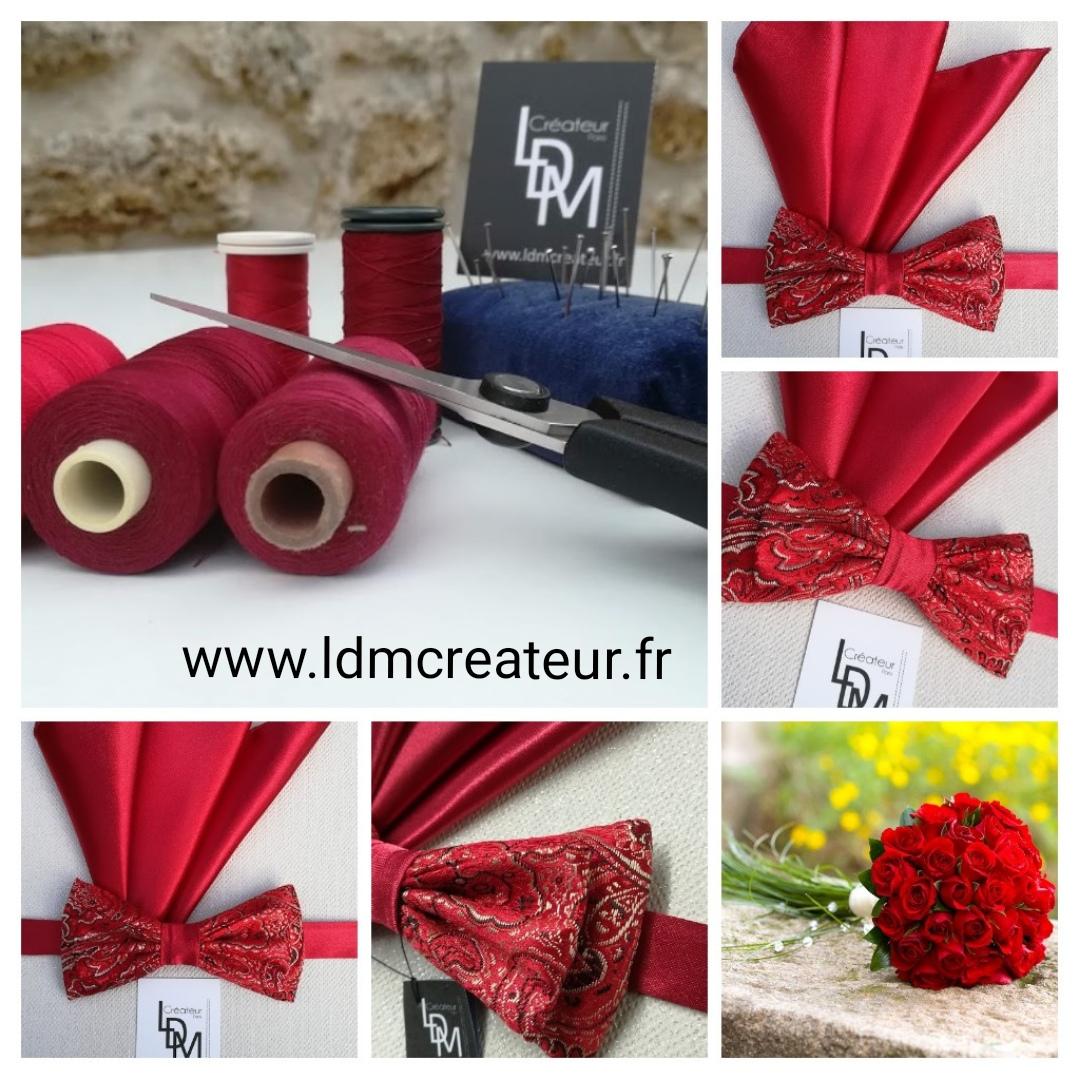 Montrouge-noeud-papillon-rouge-mariage-pochette-elegance-www-ldmcreateur-fr