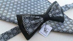 Noeud-papillon-noir-blanc-pochette-mariage-Dieppe-www-ldmcreateur-fr