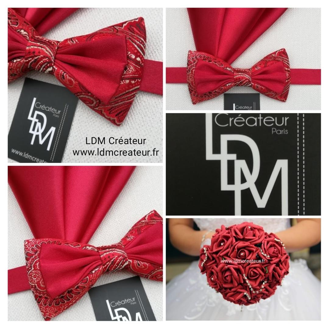 Noeud-papillon-rouge-Toulon-pochette-champetre-boheme-ldmcreateur