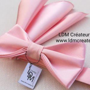 Noeud-papillon-rose-uni-mariage-pochette-Blagac-ldmcreateur