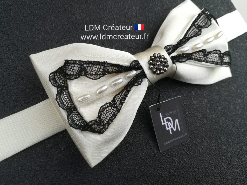 noeud-papillon-femme-ecru-dentelle-noire-perles-ldmcreateur