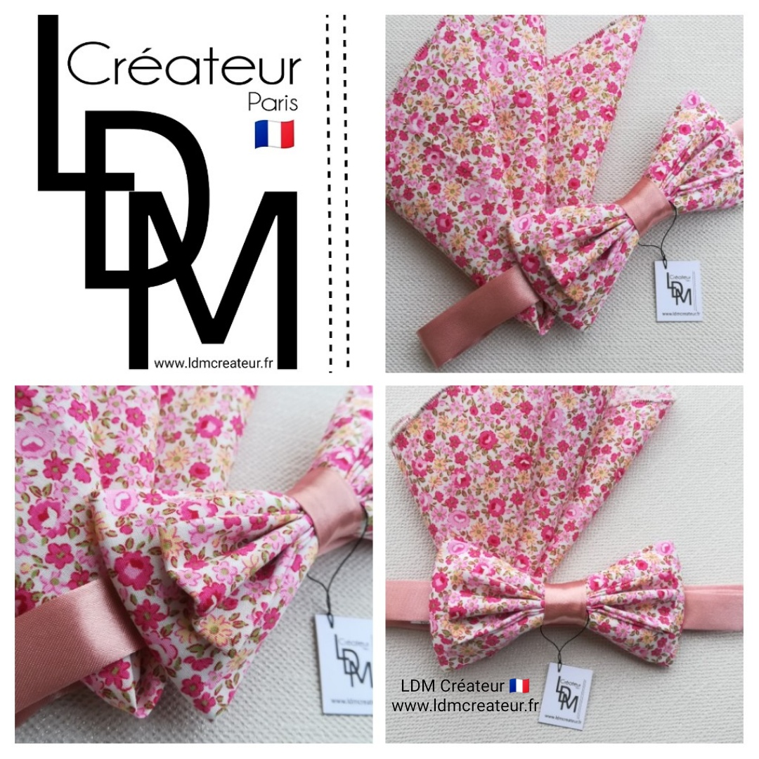 Noeud-papillon-fleuri-rose-liberty-mariage-pochette-Jonzac-ldmcreateur