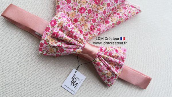 Noeud-papillon-liberty-rose-pochette-mariage-Jonzac-ldmcreateur