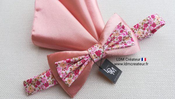 Noeud-papillon-vieux-rose-liberty-mariage-pochette-Ezanville-ldmcreateur-