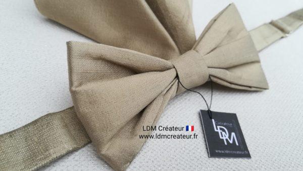 Noeud-papillon-beige-gold-soie-mariage-Orléans-ldmcreateur