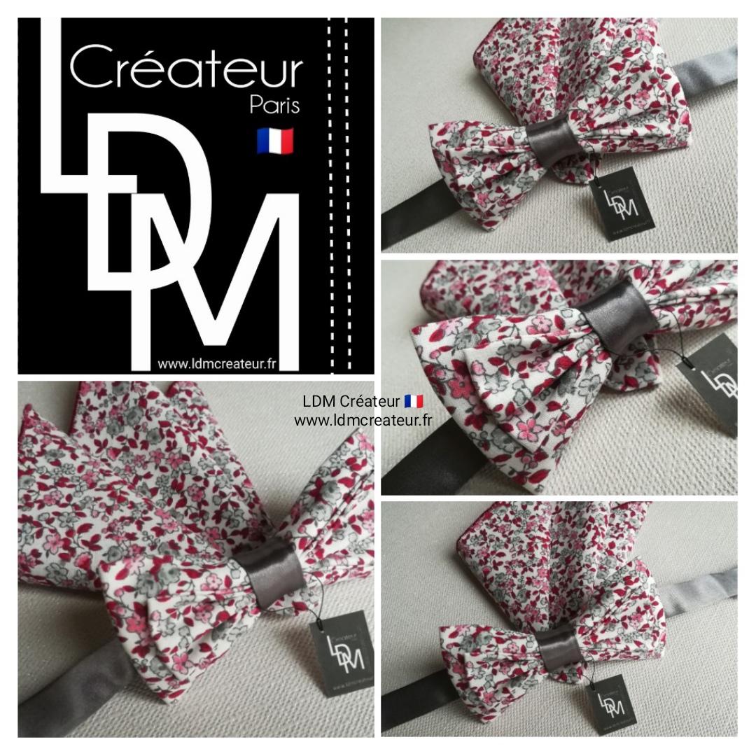 Noeud-papillon-pochette-rose-rouge-blanc-Cahors-ceremonie-ldmcreateur