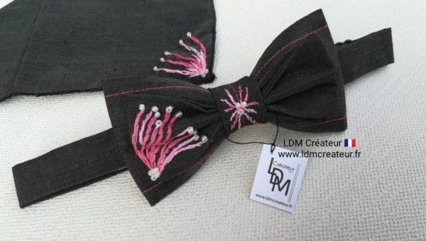 noeud-papillon-brode-rose-mariage-soie-piece-unique-ldmcreateur