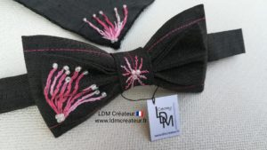 noeud-papillon-mariage-brode-gris-rose-Albi-ldmcreateur