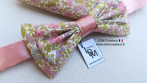 noeud-papillon-rose-liberty-champetre-mariage-Privas-ldmcreateur