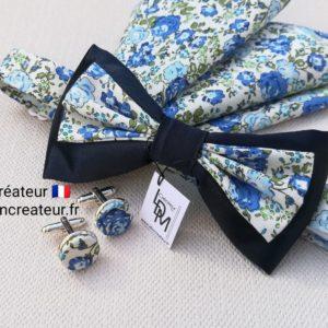Noeud-papillon-liberty-bleu-champetre-mariage-Lorient-LDM-Createur-ldmcreateur