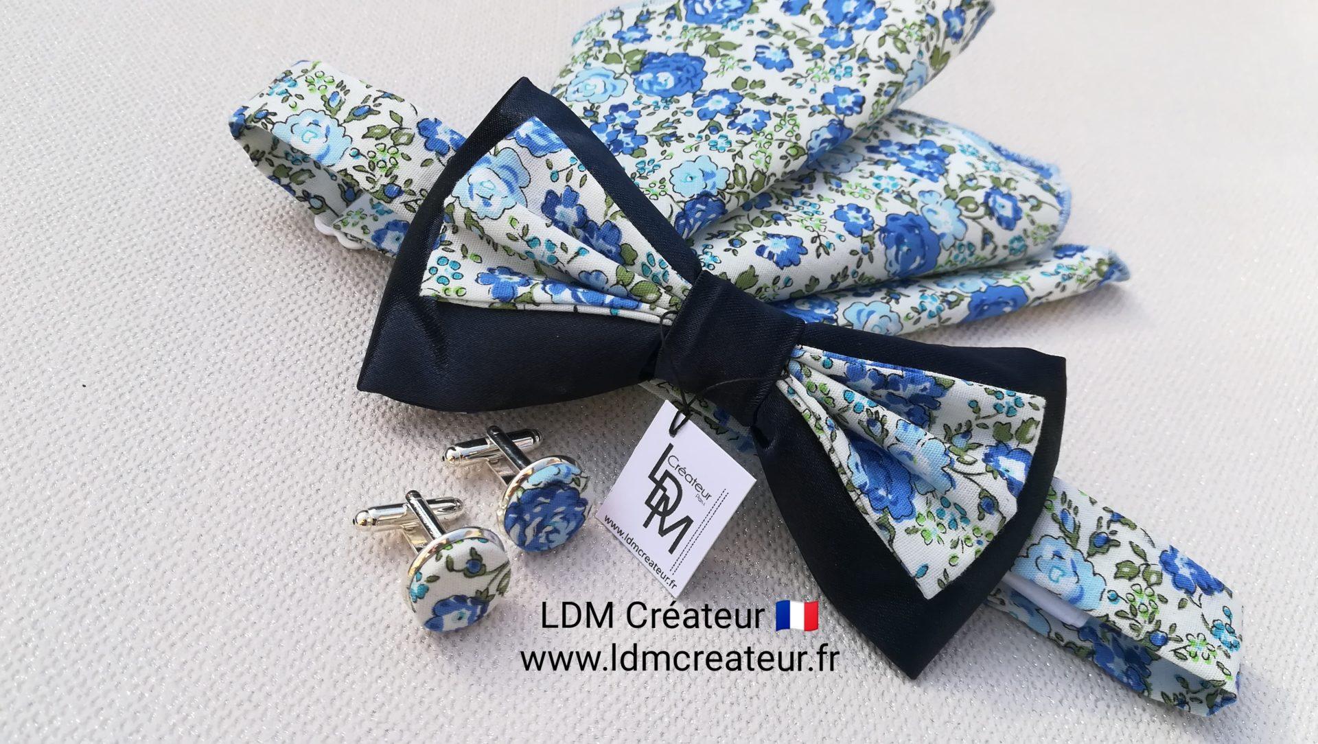 Noeud-papillon-liberty-champetre-bleu-mariage-Lorient-LDM-createur-ldmcreateur