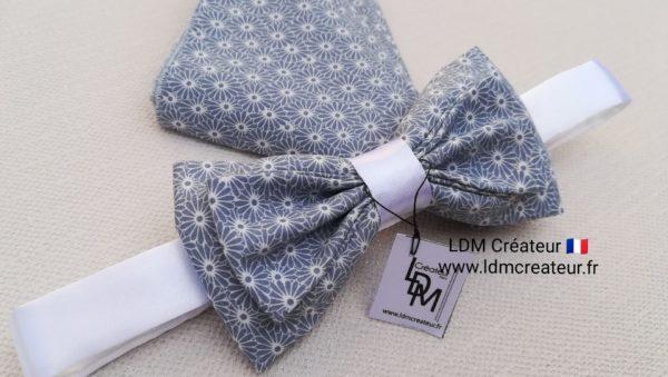 Nœud-papillon-liberty-gris-blanc-champêtre-mariage-élégance-Etretat-LDM-Createur