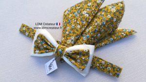 Nœud-papillon-liberty-jaune-blanc-écru-Antibes-mariage-champêtre-LDM-créateur-ldmcreateur