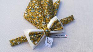 Nœud-papillon-liberty-jaune-écru-mariage-champêtre-cortège-Antibes-LDM-Createur-ldmcreateur