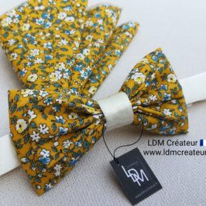 Nœud-papillon-jaune-écru-bleu-liberty-ivoire-mariage-champêtre-Nice-LDM-créateur-ldmcreateur