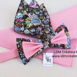 Nœud-papillon-liberty-rose-bleu-original-champêtre-marié-mariage-Brest-LDM-créateur-ldmcreateur