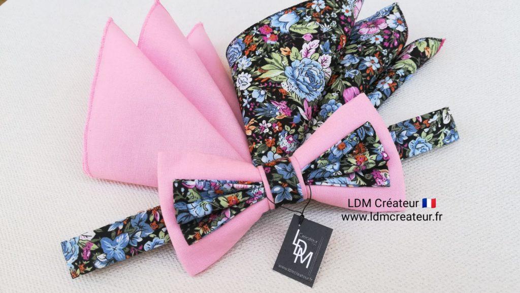 Nœud-papillon-liberty-rose-mariage-champêtre-bohème-cortège-chic-Lannion-ldmcreateur-LDM-créateur