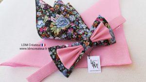 Nœud-papillon-rose-bleu-mariage-champêtre-original-style-original-homme-Brest-LDM-créateur-ldmcreateur.