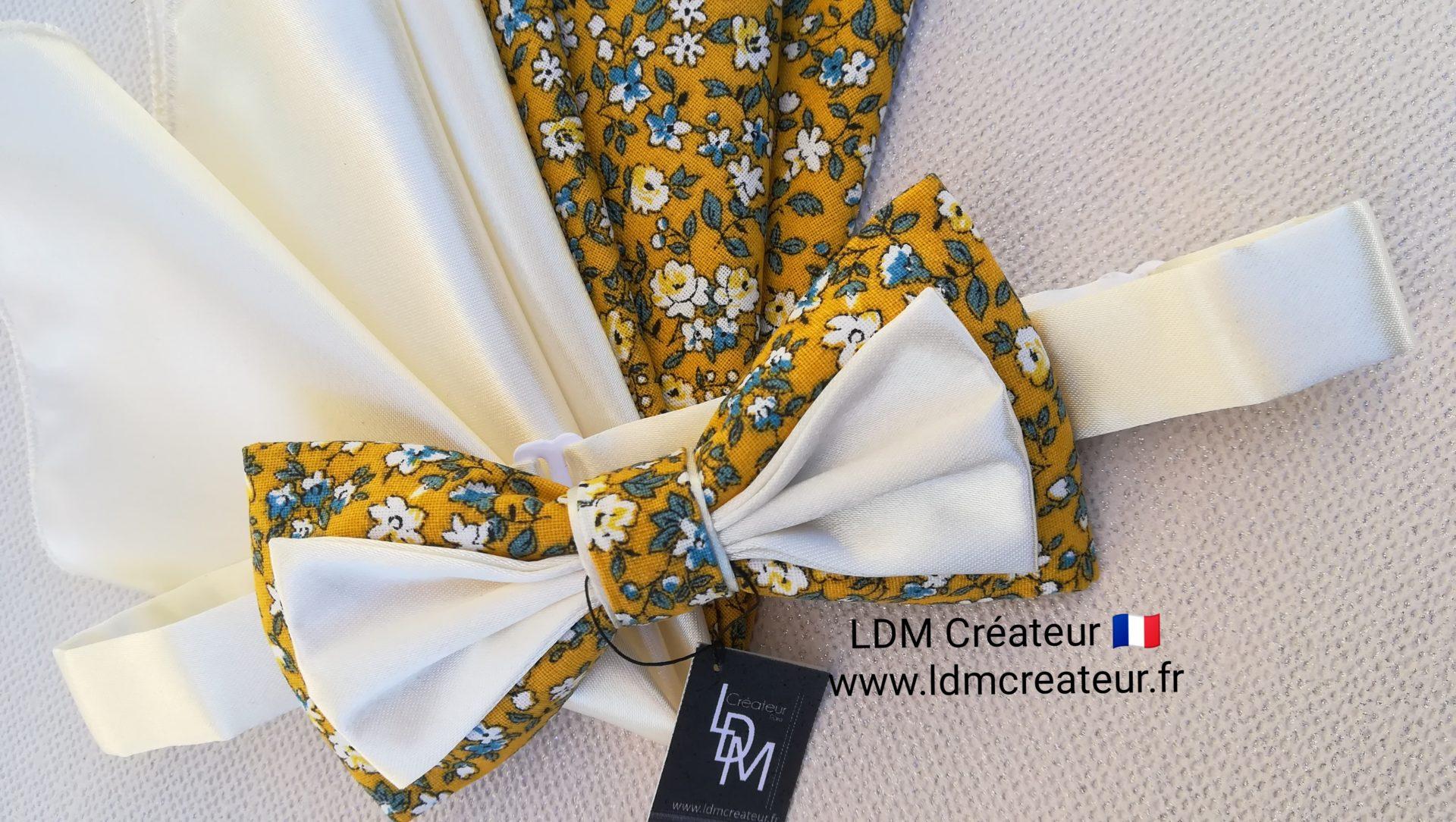 nœud-papillon-jaune-écru-ivoire-pochette-élégant-chic-mariage-soirée-Ramatuelle-ldmcreateur-ldm-créateur