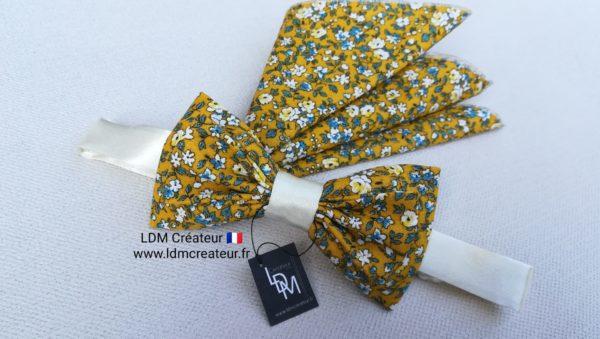nœud-papillon-jaune-blanc-bleu-fleuri-liberty-bohème-chic-Nice-mariage-LDM-créateur-ldmcreateur