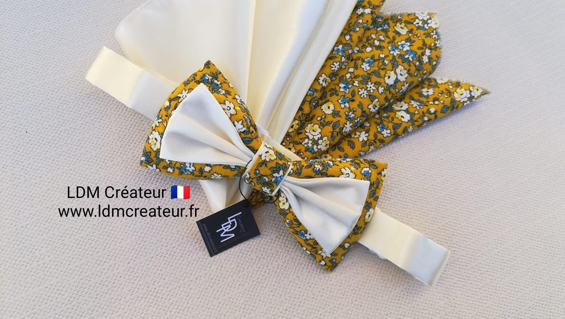 nœud-papillon-jaune-fleuri-liberty-champêtre-mariage-cérémonie-ldmcreateur-Ramatuelle-ldm-créateur