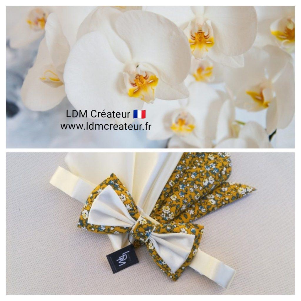 nœud-papillon-liberty-fleuri-jaune-blanc-bleu-mariage-costume-marié-Ramatuelle-ldm-créateur-ldmcreateur