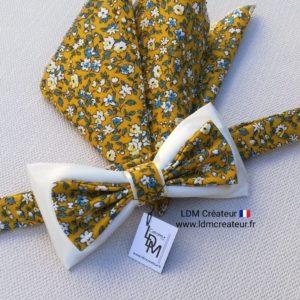 nœud-papillon-liberty-jaune-fleuri-champêtre-mariage-cérémonie-cortège-ldm-créateur-ldmcreateur