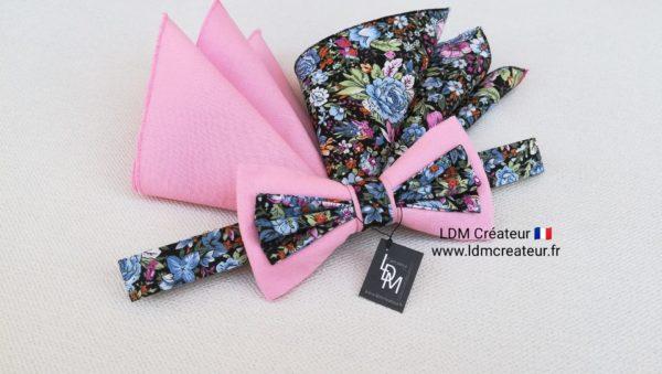 nœud-papillon-mariage-rose-bleu-champêtre-original-style-homme-liberty-Lannion-ldmcreateur-LDM