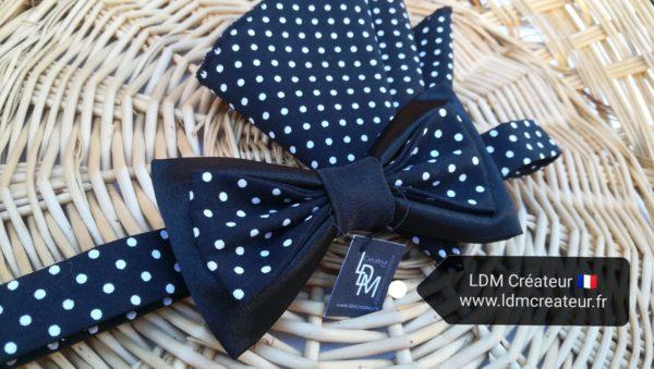 Noeud-papillon-noir-pois-ceremonie-soiree-original-Madrid-LDM-createur-ldmcreateur