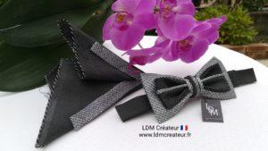 noeud-papillon-gris-soie-pochette-marié-mariage-Colmar-style-ldmcreateur-LDM-Créateur