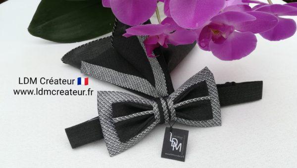 noeud-papillon-noir-gris-blanc-mariage-elegance-homme-soie-LDM-créateur-ldmcreateur