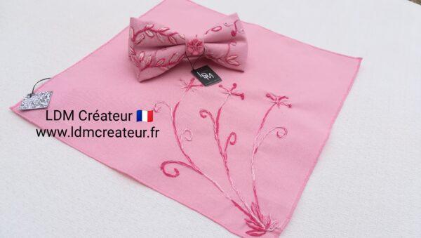 Noeud-papillon-rose-mariage-homme-marie-boheme-chic-pochette-ldmcreateur-Gignac