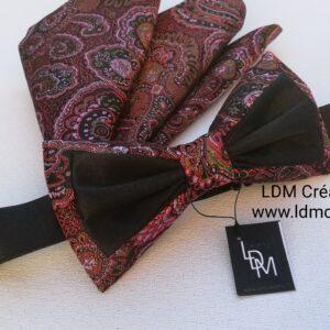 Noeud-papillon-rose-noir-pochette-mariage-homme-original-Rodez-LDM-Createur-