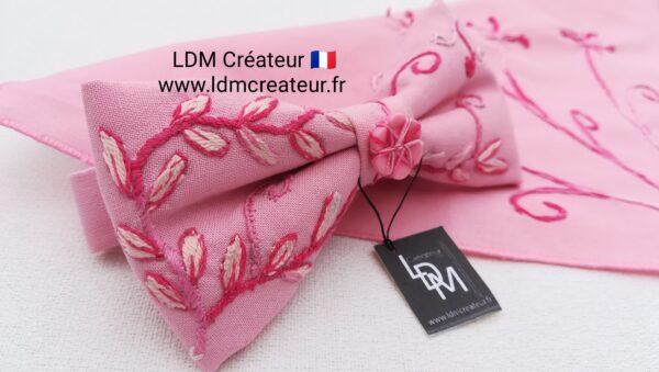 Noeud-papillon-rose-pale-fushia-mariage-poudre-brode-original-chic-ldmcreateur-Gignac