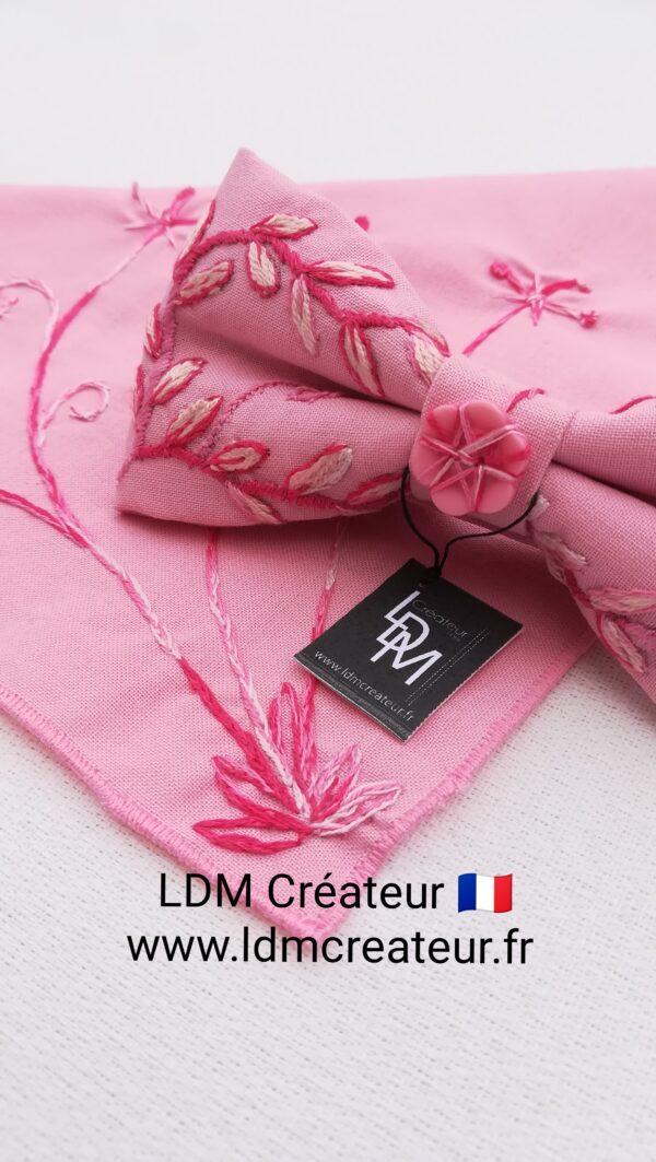 noeud-papillon-rose-blanc-pap-costume-homme-brode-boheme-pochette-ldmcreateur-Gignac