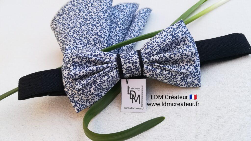Noeud-papillon-bleu-blanc-ciel-fleuri-liberty-mariage-chic-cortege-Frehel-ldmcreateur