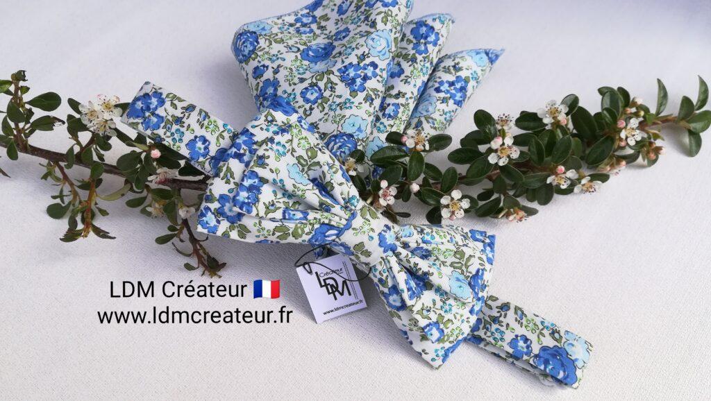 Noeud-papillon-bleu-blanc-vert-mariage-pochette-mariee-boheme-Beaugency-ldmcreateur