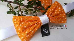 Noeud-papillon-homme-style-orange-liberty-pochette-blanc-costume-Prades-ldmcreateur