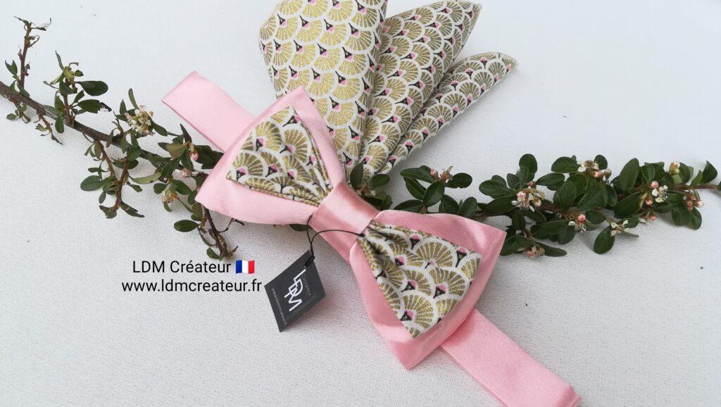 Noeud-papillon-or-rose-poudre-dore-marie-smoking-soiree-ceremonie-Servian-ldmcreateur