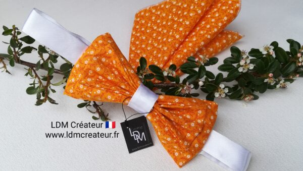 Noeud-papillon-orange-blanc-mariage-pochette-liberty-chic-boheme-Prades-ldmcreateur