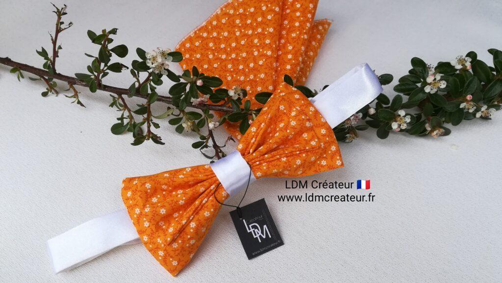 Noeud-papillon-orange-mandarine-blanc-mariage-mariee-chic-theme-Prades-ldmcreateur