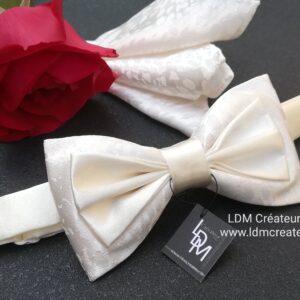 Noeud-papillon-blanc-ivoire-ecru-chemise-mariage-homme-cérémonie-accessoire-Dampierre-ldmcreateur