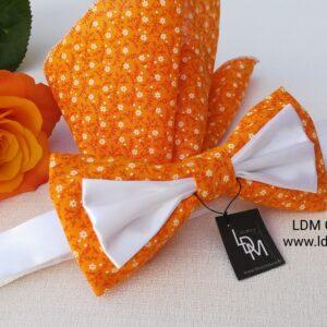 Noeud-papillon-blanc-orange-mariage-marie-ceremonie-évènement-pré-noué-homme-fleuri-Cotignac-ldmcreateur